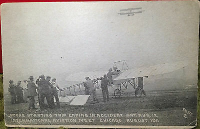 1911 Chicago International Aviation Meet STONE STARTS TRIP / CRASH Post Card