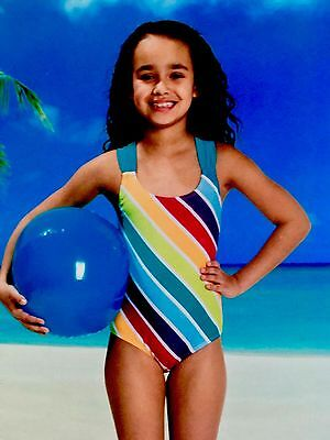 New L&D Girls Colorful Striped Swimsuit 7 - 8 Medium Bathing Suit NEW in package