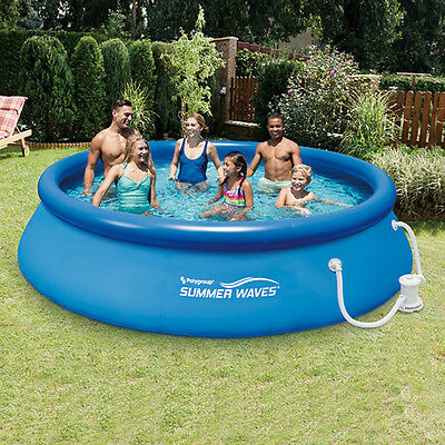 Summer Waves 12' Ft. Quick Set Inflatable Above Ground Pool with Filter Pump