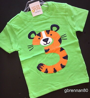 NEW 3rd Birthday TIGER Baby Boys Shirt 4T Green 3 Years Gift SS