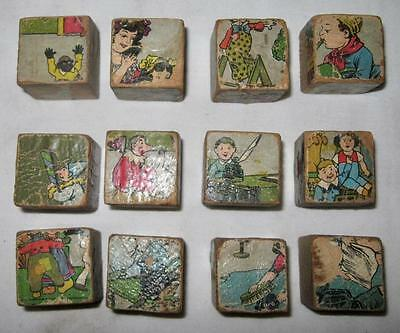 12 Antique Square Childrens Wooden Blocks Pictures Black Americana (O2) AS IS #5