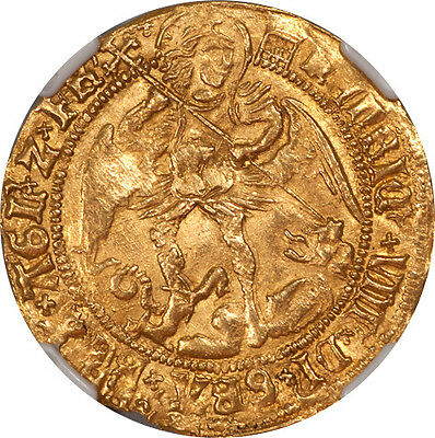 Great Britain Henry VIII Gold Angel (1509-26) NGC AU-55