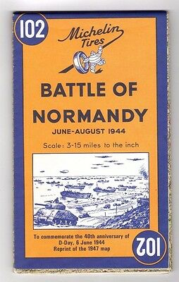 Michelin Tires,Battle of Normandy 1944 Map (Reprint of 1947 Map,Dated 1984)