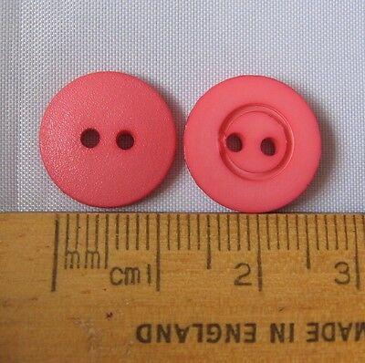 10 pack Salmon Pink Plastic Buttons 14mm 2 hole Gorgeous shade British made SP14