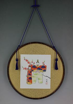 Round Wooden Art Frame for Shikishi / Art Painting With Cherry Blossom Tree Bark