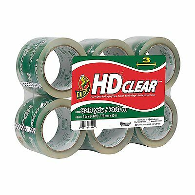 """Duck Brand HD Crystal Clear High Performance Packaging Tape, 3"""" x 54.6 Yd 6-Pack"""
