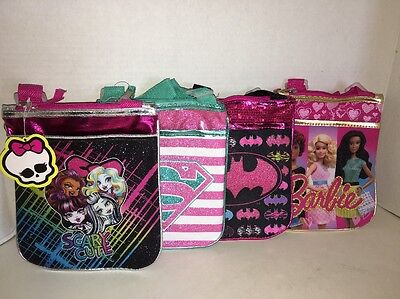 Girl's Monster High, Barbie, Super Girl, Bat Girl Cross Body Handbag Purse NWT