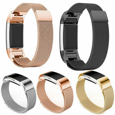 UK Magnetic Milanese Stainless Steel Watch Band Strap For Fitbit Charge 2