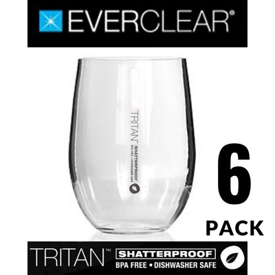 Primus Tritan Shatterproof Stemless Red Wine Glass 6 Pack 590ml BPA Free PRIT590