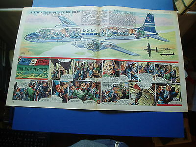 Eagle Cutaway Drawing 25/10/1957 B.o.a.c. Dc 7C Jet Airliner Used By The Queen
