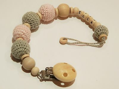Personalised crochet wooden baby dummy clip/pacifier holder/personalized soother