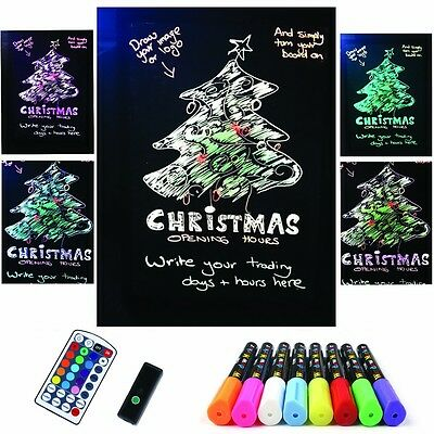 Flashing Erasable Neon LED Message Writing Board Menu &8 Highlighter Marker HE8Y