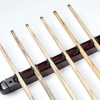 Billiard Pool Wall Mount Hanging 6 Cue Sticks Wood Rack Holder for Snooker