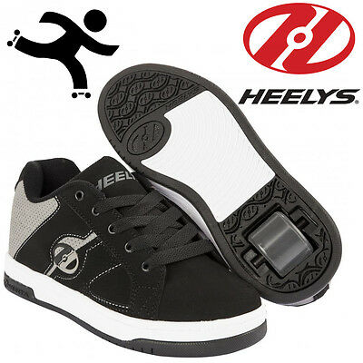 Heelys Split Kids Trainers Childrens Roller Skates Black Grey Wheels Shoes