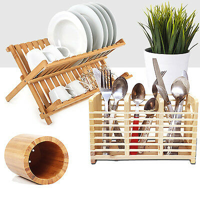Bamboo Dish Cutlery Drainer Holders Wooden Dinner Plates Rack Stand Organizer
