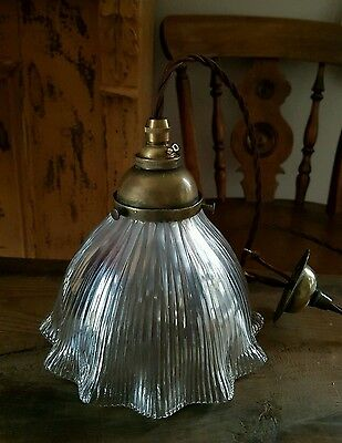 1909 Stamped Holophane Ceiling Lamp Light Fully Rewired original gallery