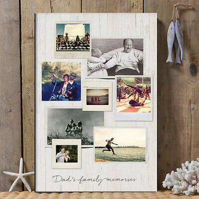 Personalised wooden effect 8 Picture collage Your Photo Picture on Canvas Print