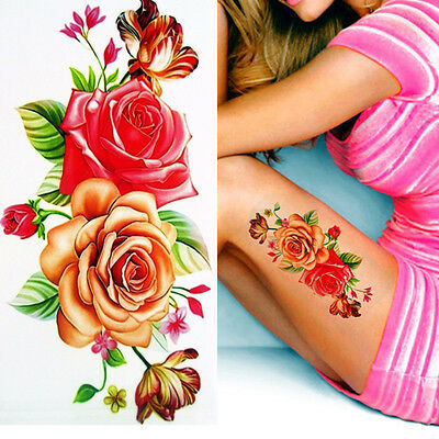 Pink Red Roses Flowers Temporary Tattoos Stickers Body Art 3D Rose  Waterproof