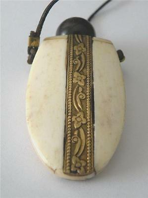 Hand-carved Victorian Era Snuff Bottle Pendant with Double Metal Inlay