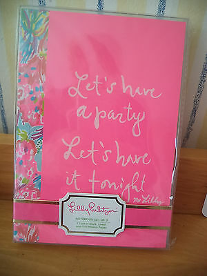 Nwt Lilly Pulitzer Notebook Set Of 3 Assorted New Item For 2017