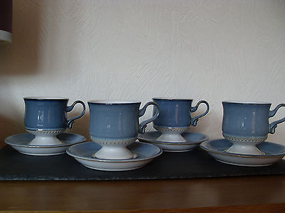 Denby Pottery Castile 4 Tea Cups And Saucers - Excellent Condition