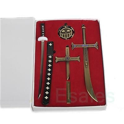 5 Pcs Anime One Piece Trafalgar Law Mihawk Eagle Eye Sword Weapon Cross Pendant