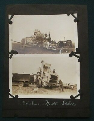c1930 MTM Co Minneapolis Combine Working in Field ND North Dakota Farming Photos