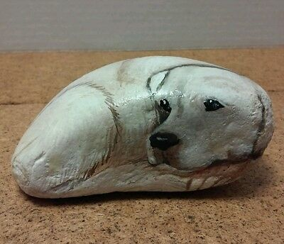Beautiful ~Pet Rock~Dog~ Hand Painted Stone Artist Signed~River Rock~