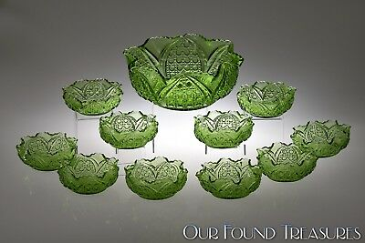 ca. 1906 CANE INSERT Tarentum Glass GREEN 11 PC Berry Set w/Master Bowl