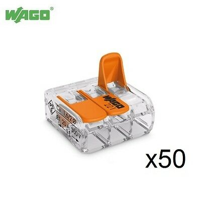 50x 32A 3 Way WAGO Transparent Splicing Connector 0.2mm - 4.0mm² 221-413