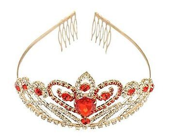 Tiara Crown Tinksky Crystal Rhinestone Gold Red Hair with Comb Wedding Party New
