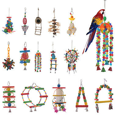 Pet Bird Parrot Chew Toys Cages Hanging Swing Play Wood Ladder Rope Bells Toys