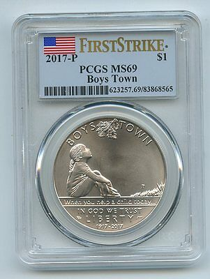 2017 P $1 Boys Town Silver Uncirculated Commemorative PCGS MS69 First Strike