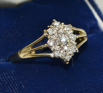 Vintage 9ct 375 YELLOW GOLD & 1 Carat DIAMOND Cluster Engagement Ring - Sz Q