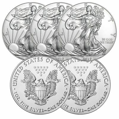 2017 American Silver Eagle 1 oz Silver Coin | Lot of 5 From Mint Tube