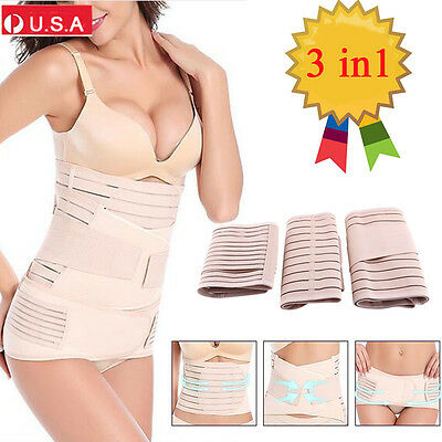 3 in 1 Women Postpartum Belly Recovery Girdle Tummy Wrap Corset Body Shaper Belt