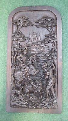 Antique 19Th Century Carved Oak Plaque We Are Going On A Boar Hunt