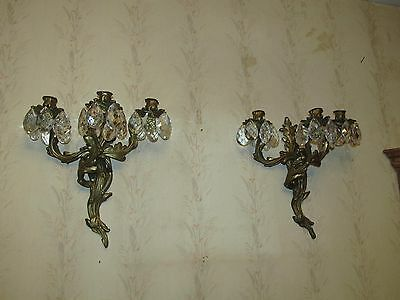 2 -10lb ANTIQUE SCONCES 36 VERY LRG PEAR CRYSTALS COLLECTIBLE SCONCES 16HX14WX8