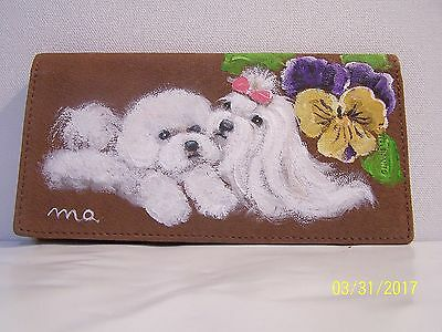 Hand painted Bichon Frise and Maltese genuine leather Checkbook cover