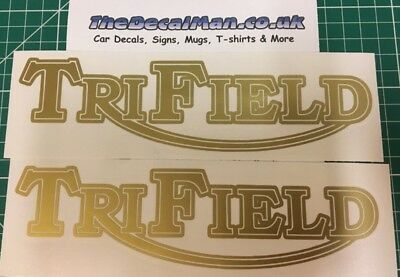 2x Trifield motorcycle motorbike decal sticker logo choose your colour.
