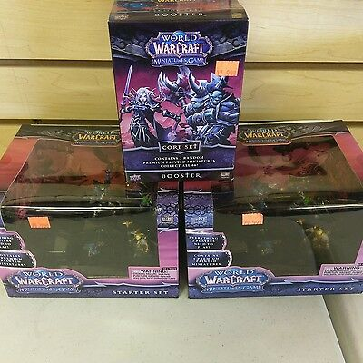 World of Warcraft  Miniatures Game 2 starter sets and 1 core set booster