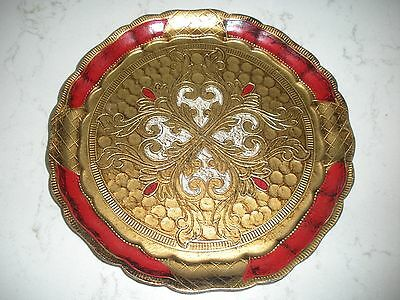 vintage Florentine tray faux wood crimson red gold gild Italy vanity tray LOVELY