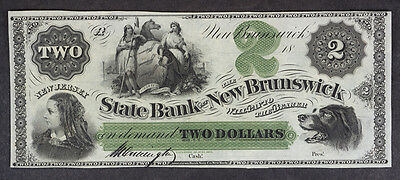 1800's $2 The State Bank at New-Brunswick, NEW JERSEY Note CU.  NICE!