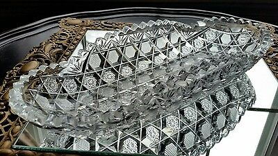 Abp Antique  American Brilliant Cut Glass Crystal  Celery Boat  Dish 11 3/4""