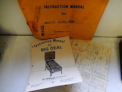 Williams Big Deal Instruction Manual and Schematics with original envelope
