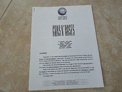 Guns & Roses Band History RARE ILLUSIONS Era Geffen Records Press Release 2 Page