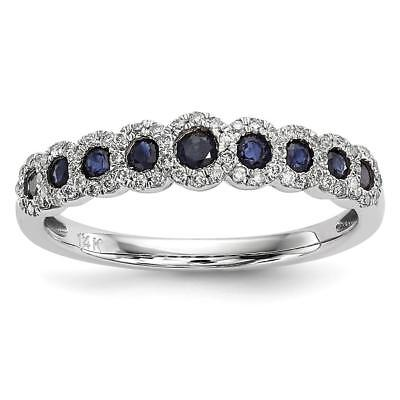 14k White Gold Diamond and Sapphire Polished Ring Size 7 Y13878S/AA