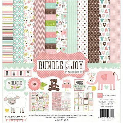 Echo Park Bundle Of Joy (1) 12X12 Scrapbook Collection Pack Kit Baby Girl Pink