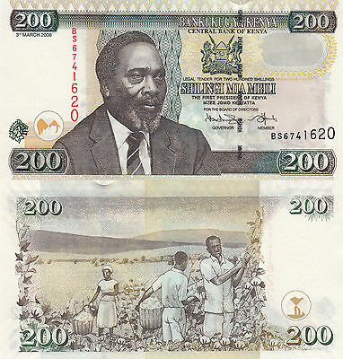 Kenya 200 Shillings (2008) - Kenyatta/Cotton Pickers/p49c UNC