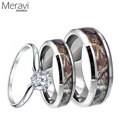Mens Tungsten Mossy Forest Oak Camo Band Womens 925 Sterling Silver Ring 3pc Set